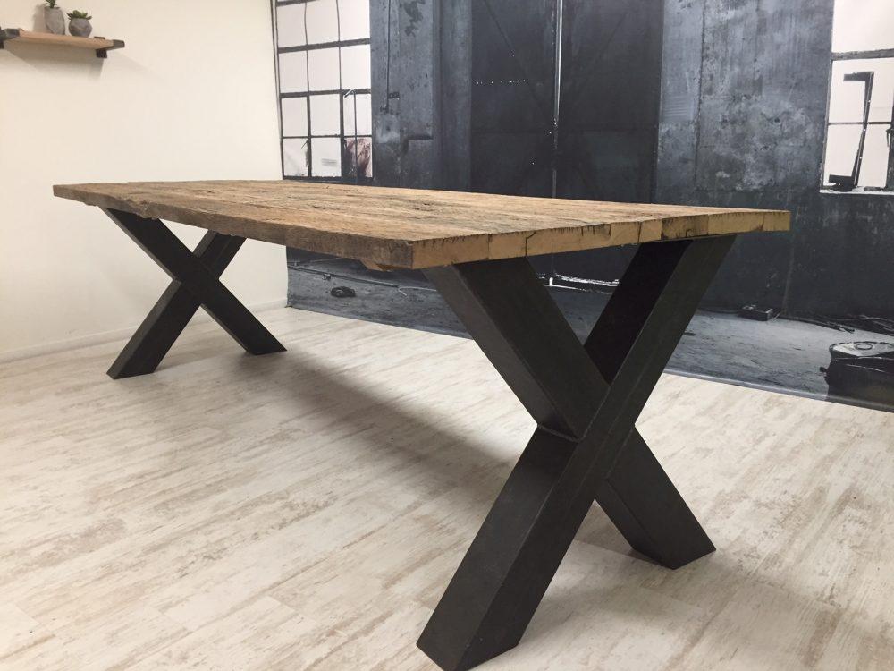Tafel X Poot : Hout het stijlvol tafel villach poot eiken wagondelen