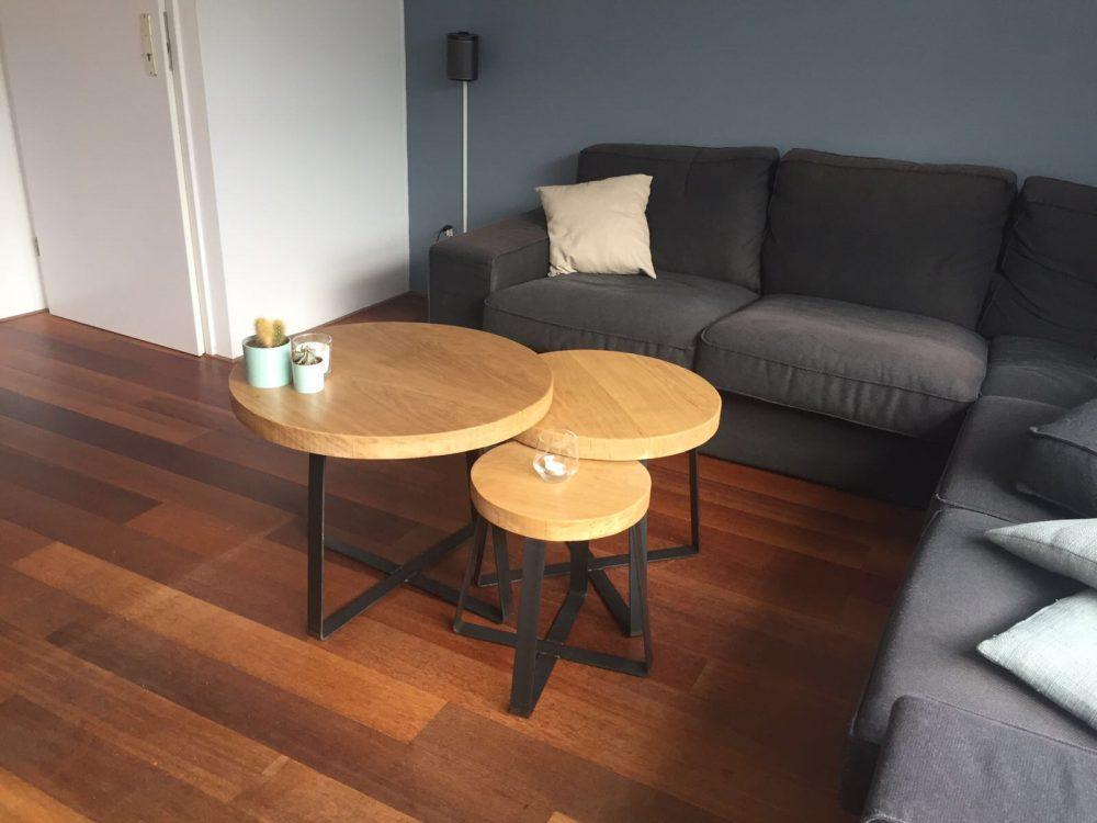 Hout het stijlvol industriële ronde eiken salontafel